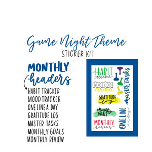 Game Night Theme Monthly Planner Sticker Kit for Bullet Journal