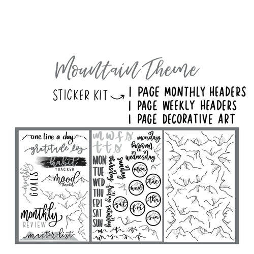Mountain Theme Monthly Planner Sticker Kits, Bullet Journal Sticker Kits, Stickers for Planners, Monthly Journal Stickers