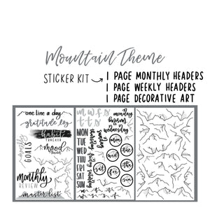 Mountain Theme Monthly Planner Sticker Kit for Bullet Journal