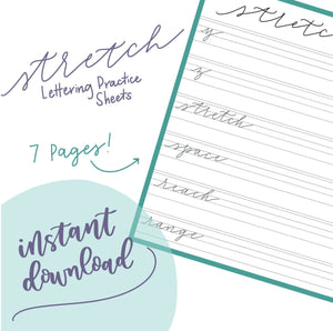 STRETCH LETTERING SHEETS With Capitals | Handlettering Practice - Learn to Letter - Calligraphy - Brush Lettering Tutorial -Instant Download