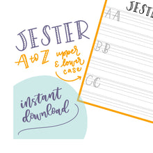 JESTER LETTERING SHEETS With Capitals | Handlettering Practice - Learn to Letter - Calligraphy - Brush Lettering Tutorial - Instant Download