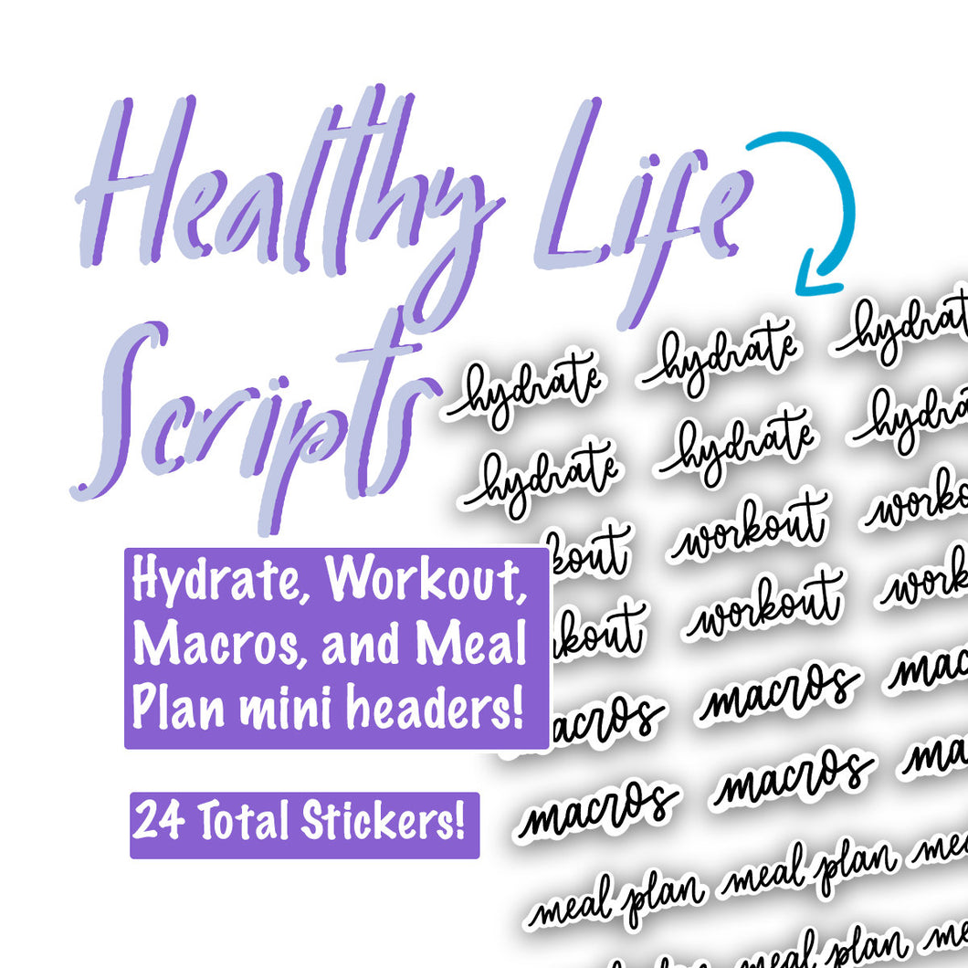 Healthy Life Planner Script Stickers