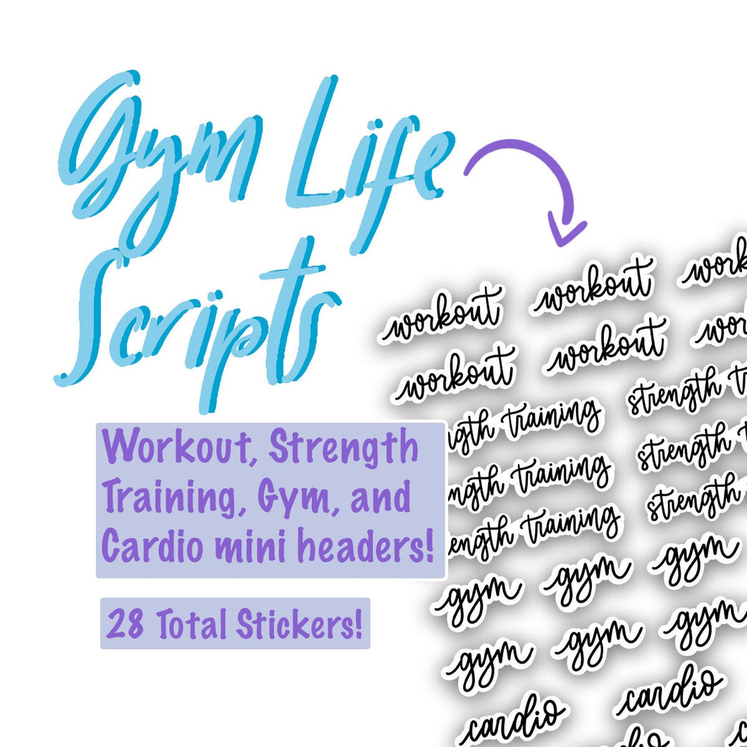 GYM LIFE SCRIPT Stickers | Planner Stickers for Resolutions, Bullet Journal Script Stickers, Workout Stickers, Gym Stickers