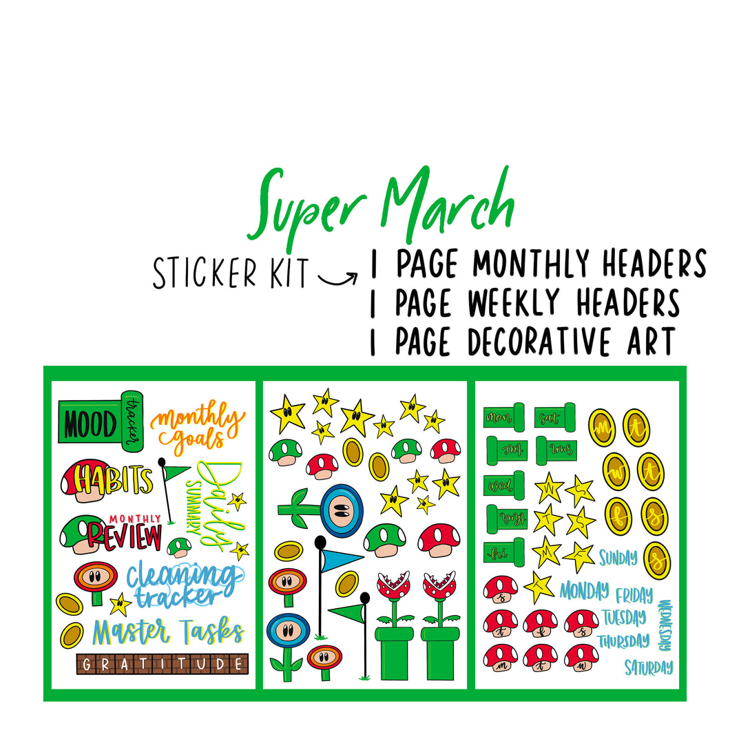 Super March Theme Monthly Planner Sticker Kits, Bullet Journal Sticker, Stickers for Planners, Monthly Journal Stickers