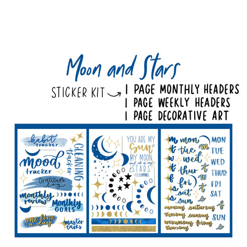 Moon and Stars Theme Monthly Planner Sticker Kits, Bullet Journal Sticker Kits, Stickers for Planners, Monthly Journal Stickers