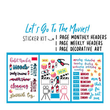 Going to the Movies Theme Monthly Planner Sticker Kits, Bullet Journal Sticker Kits, Stickers for Planners, Monthly Journal Stickers