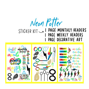 Neon Potter Theme Monthly Planner Sticker Kit for Bullet Journal