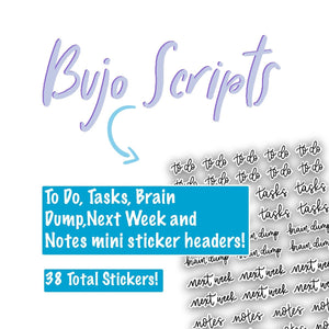 Bullet Journal To Do Script Stickers - SC2