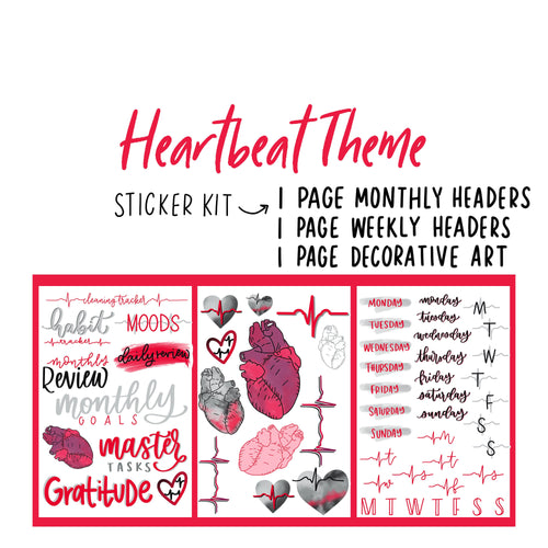 Anatomical Heart and Heartbeat Theme Monthly Planner Sticker Kit for Bullet Journals