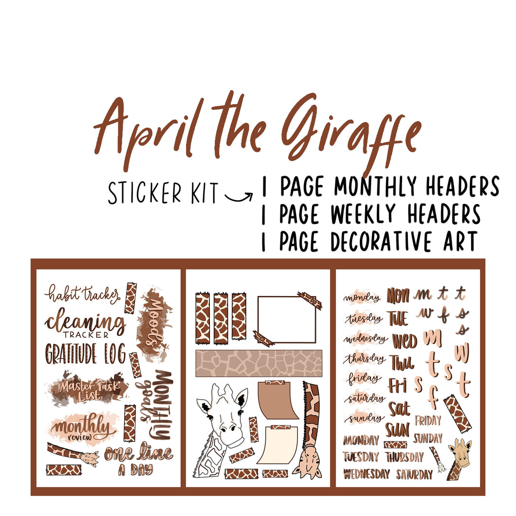 April the Giraffe Theme Monthly Planner Sticker Kits, Bullet Journal Sticker Kits, Stickers for Planners, Monthly Journal Stickers