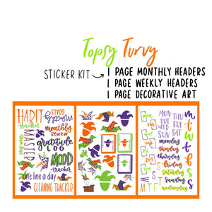 Topsy Turvy Jester Theme Monthly Planner Sticker Kits, Bullet Journal Sticker Kits, Stickers for Planners, Monthly Journal Stickers