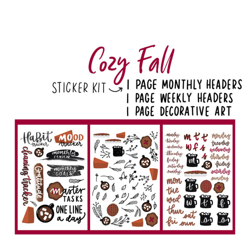Cozy Fall Theme Monthly Planner Sticker Kit for Bullet Journal