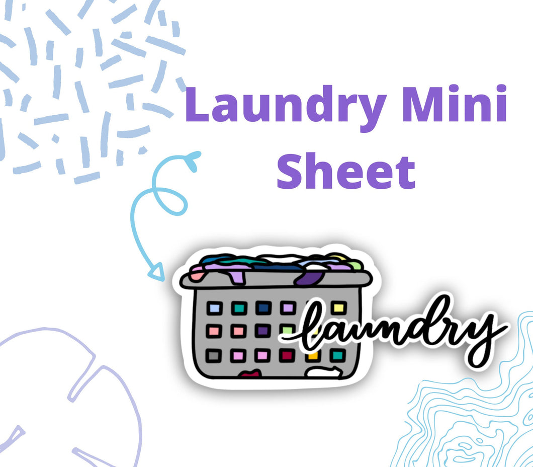 LAUNDRY SCRIPT and DOODLE Stickers | Planner Sticker, Chores Reminder Sticker, Laundry Stickers, Bullet Journal Stickers