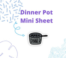 DINNER SCRIPT and DOODLE Stickers | Planner Sticker, Dinner Pot Sticker, Make Dinner Stickers, Bullet Journal Stickers