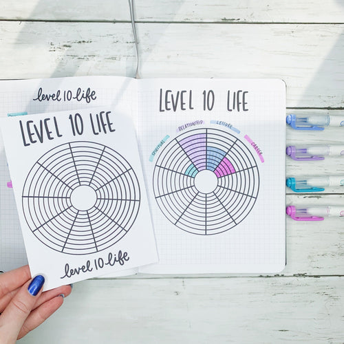 Annual Level 10 Life Tracker Sticker for Bullet Journal