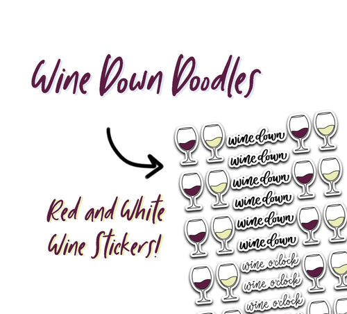 Wine Night Script and Doodle Planner Stickers
