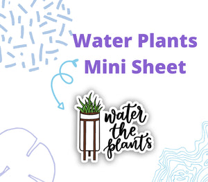 WATER PLANTS DOODLE Stickers | Planner Sticker, Water the Plants Reminder Sticker, Bullet Journal Stickers