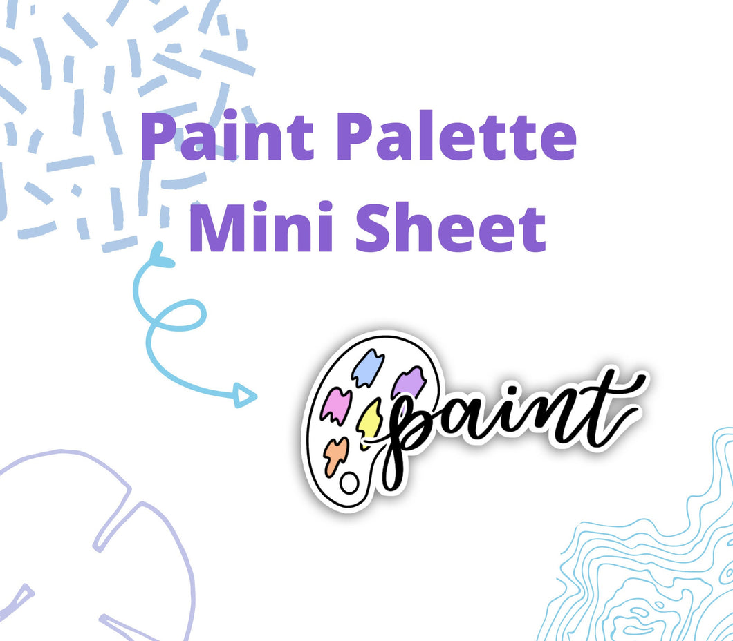 Paint Palette and Brush Script and Doodle Stickers - DD23