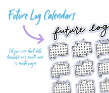 FUTURE LOG STICKERS, Bullet Journal Future Log Stickers, 12 Month Calendar for Future Log, Bullet Journal Set Up Stickers
