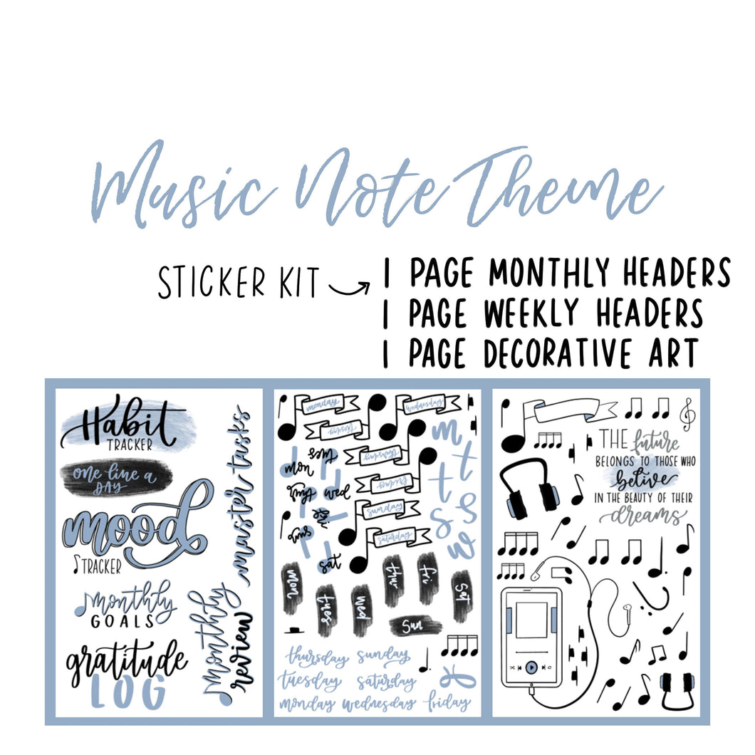 Music Note Theme Monthly Planner Sticker Kits, Bullet Journal Sticker Kits, Stickers for Planners, Monthly Journal Stickers