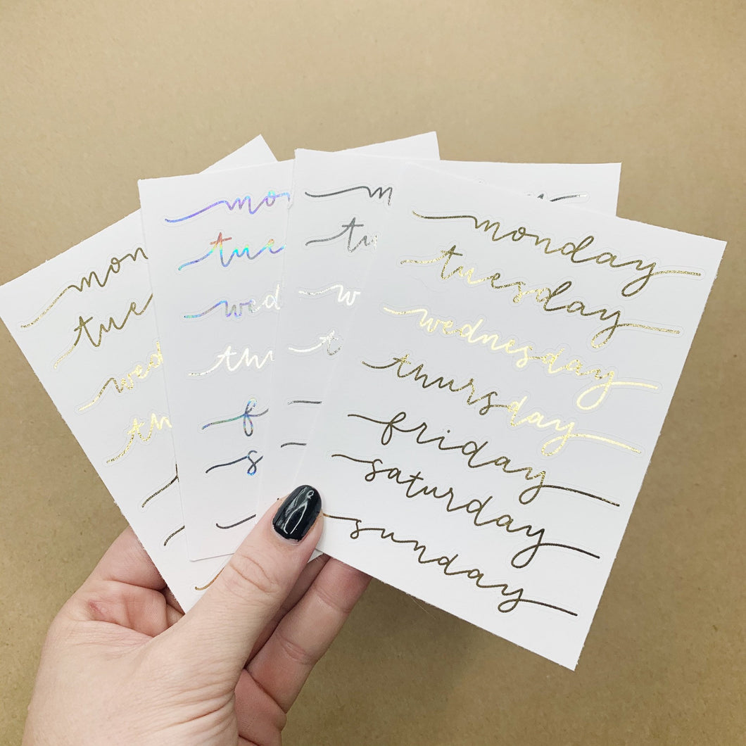 Weekday Foil Script Stickers