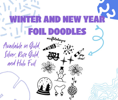 Winter and New Year's Doodle Foil Stickers