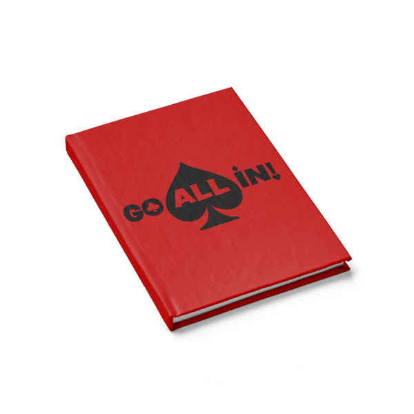 Go All In Journal Red Cover With Standard Ruled Lined Paper