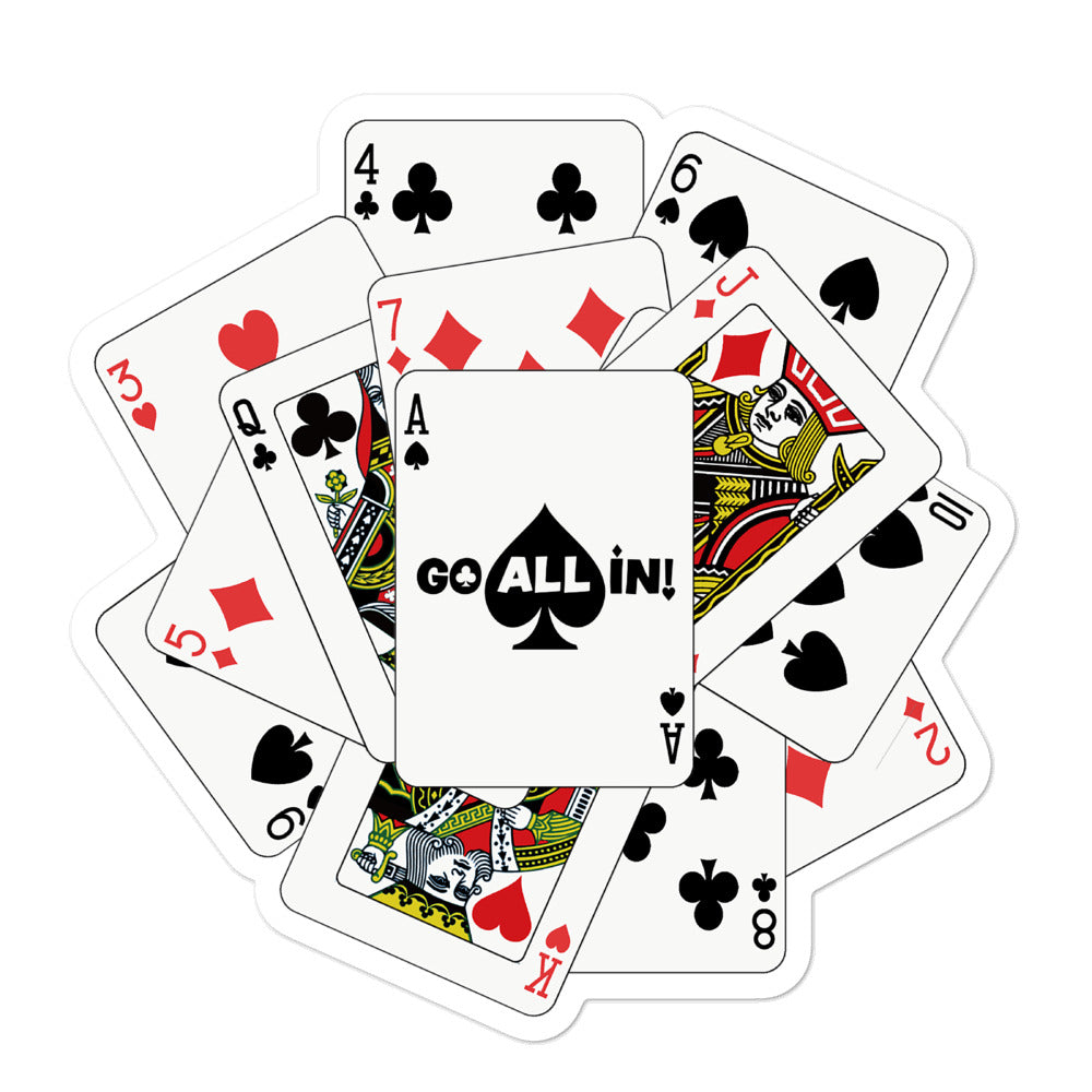 Playing Cards Go All In Sticker