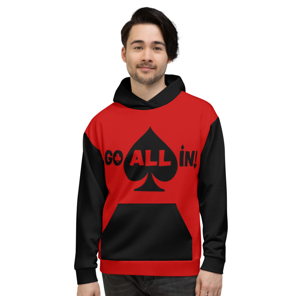 Go All In Mens Logo Performance Red And Black Hoodie