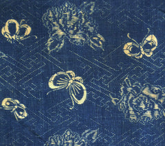 A Lovely Piece of Antique Katazome Cotton: Butterflies, Peonies and Sayagata