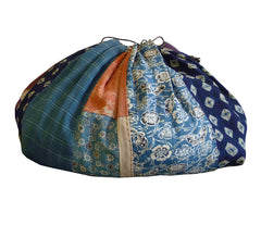 A Fabulous and Large Drawstring Bag: 19th Century Botanically Dyed Silks