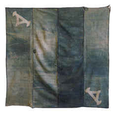 A Large and Faded Green Colored Furoshiki: Resist Dyed Details