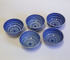 A Set of Five Hand Painted Porcelain Sake Cups: Radiating Circles