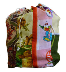 A Brightly Colored Girl's Drawstring Bag: Hand Stitched