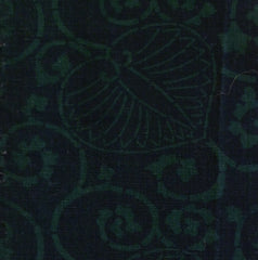 A Long Sliver of Green and Black Katazome Cloth: