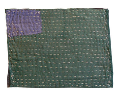 A Large Hemp Stitched Zokin: Green and Purple
