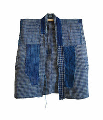 A Child's Indigo Dyed Boro Hemp Vest: Cotton Patches