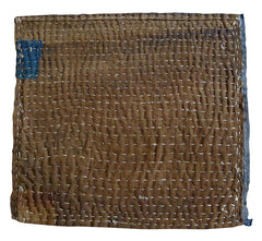 A Large Hemp Stitched Boro Zokin #2: Rust Ground and Blue Patch