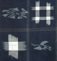 A Length of Beautiful Kasuri Cloth: Auspicious Symbols