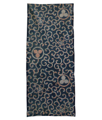 An Elaborate Length of Katazome Cloth: Karakusa, Kamon, Bengara