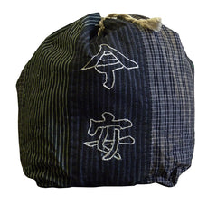 A Rustic and Beautiful Pieced Cotton Drawstring Bag: Chainstich Kanji