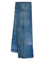A Length of Indigo Dyed Boro Cotton: Geometric Katazome Pattern