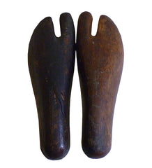 A Pair of Small Tabi Lasts: Wooden Split Toe Sock Forms