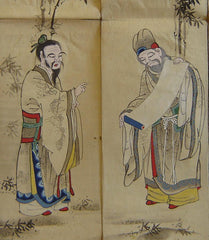 A Large Hand Painted Festival Banner Cartoon: Seven Chinese Ancients