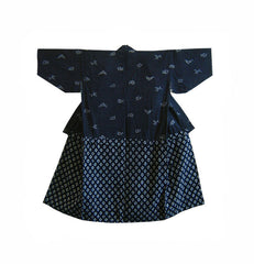 An Unusual Cotton Country Kimono: Katazome Dyeing Over Checked Cotton