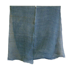 A Long Piece of Crinkly and Beautiful Pale Blue Kaya: Indigo Dyed Hemp