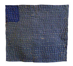 A Large Hemp Stitched Zokin: Boro Blue-Purple Cottons