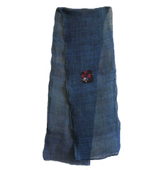 A Long Indigo Dyed Hemp Kaya: Flower Pattern Patch