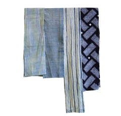 A Group of Four Narrow Shibori Pieces: Cotton