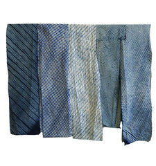 A Group of Narrow Shibori Pieces: Indigo Dyed Cotton